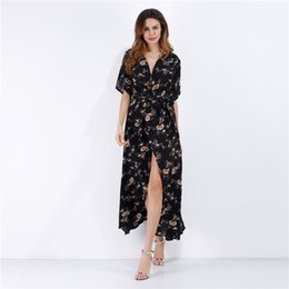 China 2019 Deep V Lead Multicolor Short Sleeve Chiffon 2015 Shivering Sandy Beach Skirt Printing Vent mini club Dress woman dresses models casual supplier shivering dress suppliers