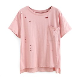 China sexy Casual summer Clothing online shopping - Pink New Fashion Hole Sexy Woman Shirts Ladies Feminine Chemise Femme Women Summer Blouse And Top Cheap Clothing China