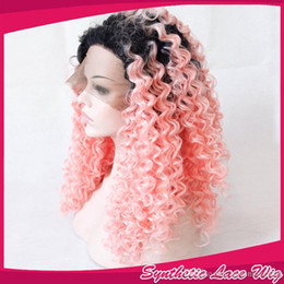 $enCountryForm.capitalKeyWord Canada - Ombre Black to Pink Synthetic Lace Front Wig Kinky Curly Heat Resistant Fiber Synthetic Hair Wig for Women Cosplay