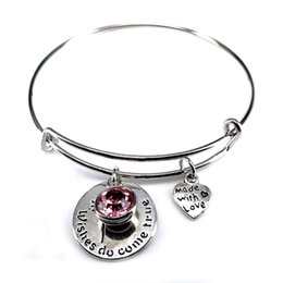 True Love Chains Australia - 65mm Adjustable Steel Wire Bangle Birthstone Wish Do Come True Love Charm Bracelet Jewelry for Women Girl Gift B18100