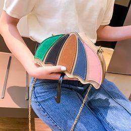 $enCountryForm.capitalKeyWord NZ - Retro Cartoon Color Striped Cute Umbrella Style Pu Leather Ladies Chain Purse Shoulder Bag Design Handbag Messenger Bag #Zer