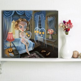 Decorative House Painting Australia - Xue Wang's Haunted House Canvas Painting Wall Picture Poster And Print Decorative Home Decor