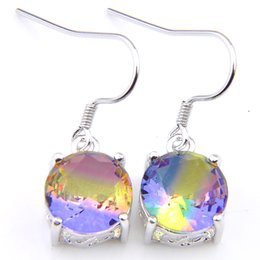 $enCountryForm.capitalKeyWord Canada - Luckyshine 5 Pairs Quality Round Cut 10 mm Rainbow Bi Colored Tourmaline Gems 925 Sterling Silver Dangle Hook Earrings For Women