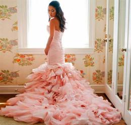 Blush Ruffle Wedding Dresses Australia - Romantic Ruffles Sweetheart Mermaid Bridal Gowns Lace Up Glamorous Blush Pink Organza Wedding Dresses Custom Made