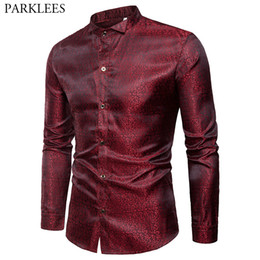 $enCountryForm.capitalKeyWord NZ - Mens Tadpole Pattern Wingtip Collar Silk Satin Shirt 2019 New Slim Fit Shiny Long Sleeve Dress Shirts Men Chesmie Homme Wine Red
