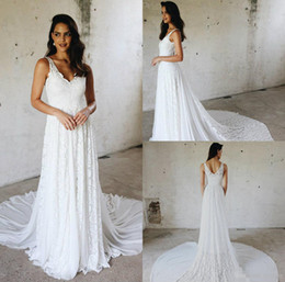 Modern gown black white online shopping - 2019 Boho Country Wedding Dresses A Line Lace Sweep Train Custom Made White Bridal Gowns For Dance V Neck Beach Wedding Dress