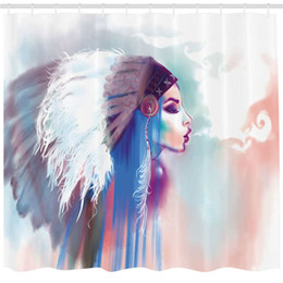 Modern Girls Clothing Australia - Native American Shower Curtain, Girl Smoking Pipe with Traditional Clothes Abstract Watercolor Background, Fabric Bathroom Decor Set