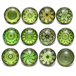 $enCountryForm.capitalKeyWord Australia - 12pcs lot Green Series Theme Beautiful Exotic Pattern 18mm Snap Button Charms For 18mm Snaps Bracelet Snap Jewelry KZ0622