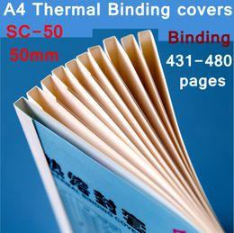 bind machine 2019 - 10PCS LOT SC-50 thermal binding covers A4 Glue binding cover 50mm (430-480 pages) thermal machine cover cheap bind machi