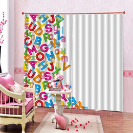 72 shower curtain UK - English Educational Letters Kids Shower Cutains Baby Bathroom Children's room Blackout Curtains decor