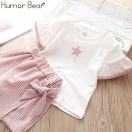 Suits Waistband Australia - Humor Bear Baby Suit Brand New Summer Star Printing Toddler Girl Clothes T-shirt Tops+waistband Pantskirt 2-6y Q190523
