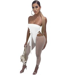 one piece romper woman UK - Sexy Strapless Backless Bodycon Bandage Jumpsuit Women Cut Out Skinny Ankle-length Pants Romper Party Club One Piece Overalls T200528