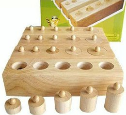 montessori math materials Australia - Montessori Materials Montessori Toys Educational Games Cylinder Socket Blocks Wooden Math Toys For Children 1 2 3 Years Old