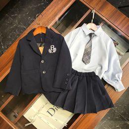 Skirt wind SuitS online shopping - Girls suits sets kids designer clothing blazer lapel shirt skirt autumn and winter college wind sets tie design cute temperament