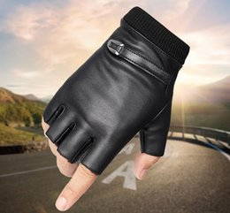racing hand gloves UK - PU leather half-fingered gloves for men and women outdoor sports cycling, keyboard driving, typing, hand swimming, Fishing Gloves and Velvet