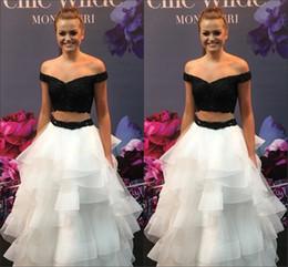 $enCountryForm.capitalKeyWord Australia - Black White Ruffles Evening Prom Dresses 2019 Off The Shoulder Short Sleeve Lace Applique Beaded 2 Piece Graduation Vestido De Quinceanera