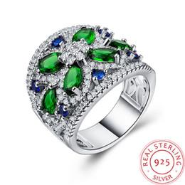 $enCountryForm.capitalKeyWord Australia - Emerald Flower 925 Silver ring for Women luxury designer jewelry Vintage Charm 2019 new pandora Top Quality birthday present promise