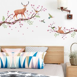 $enCountryForm.capitalKeyWord Australia - 3D Animal Sika Deer Flowers Wall Stickers For Kids Rooms Home Decor Self-adhesive Poster Tree Branches Peach Blossom Art Mural