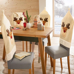 christmas hat chair covers Australia - 4Pcs New Year Deer Chair Cover Christmas Dinner Table Party Elk White Hat Chair Back Covers Xmas Christmas Decorations for Home
