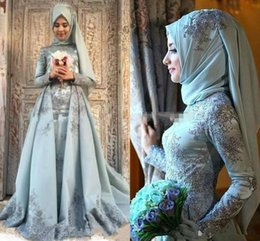 Long sLeeve pink dresses online shopping - Modest Muslim Evening Dresses Middle East Long Sleeve Applique Beads Dubai Vestidos De Festa Party Dress Prom Formal Pageant Celebrity Gowns