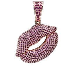 China High quality Sexy Lip necklace jewelry with purple zircon hip hop trendy Pendant supplier lip slides suppliers