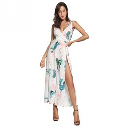 081b8051015e1 Backless Slit Playsuit Women Jumpsuit Casual Sexy Long Sleeveless Floral  Deep V Neck Strappy Holiday Wide Leg Playsuit