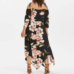 3cb08425f22 Fashion Women Off Shoulder Plus Size Lace Up Maxi Flowing Floral Print Dress  sexy floral dress Women s long dresses