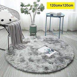 coffee pricing 2019 - Mottled Tie-dye Gradient Carpet Living Room Coffee Table Mat Long Hair Round Full Bedroom Blanket Best Price cheap coffe