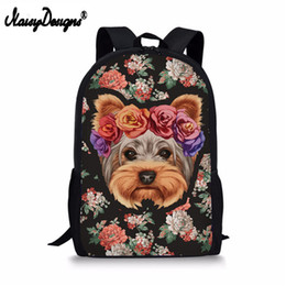 Wholesale 3D Floral Yorkie Printing School Bags Cool Backpack for Girls Teens Kawaii Shoulder Bag Kids Schoolbag Large Book Bag Satchel