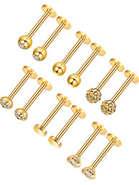 316L Crystal Rhinestone Nose Ring Ear Studs Tongue nail labret Stainless  Steel Body Piercing Jewelry Gifts 12pcslot e182fc41d9c3