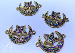Micro Pave Connectors NZ - Wholesale 6pcs 25mm rainbow Moon-star Connector pave micro CZ spacer beads Pendant-earrings-charm beads