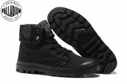palladium shoes leather Canada - PALLADIUM Pallabrouse All Black Sneakers Men High-top Military Ankle Boots Canvas Casual Shoes Men Casual Shoes Eur Size 39-45 S200409