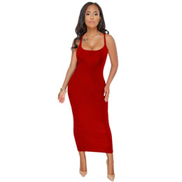 China Sexy dress Women Slim Dress Solid Color Slim Tank Long Dress Lady Party Clubwear Elegant Square Collar Inner Cloth Beachwear vestidos suppliers