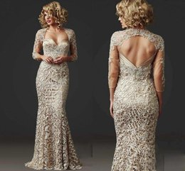 $enCountryForm.capitalKeyWord Australia - Custom Made 2019 Vintage Full Lace Mermaid Mother of the Bride Dresses Long Sleeve Formal Champagne Evening Gowns Club Dress