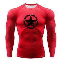 men full print t shirt 2019 - 3D Printed shirt Compression Tights Men Fitness Running Shirt Breathable Long Sleeve Sport Gym T-shirts men Clothing Qui