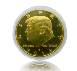 $enCountryForm.capitalKeyWord NZ - 2019 Donald Trump Commemorative Coin American President avatar Gold Coins Silver Badge Craft Collection Acrylic packaging DHL fast Shipping
