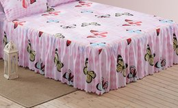 queen size butterfly sheets Canada - 1 Piece Bed skirt bed sheets King Queen Twin size Butterfly sheet bedding Lace mattress cover Bedspread15
