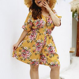 $enCountryForm.capitalKeyWord Australia - Womens Boho Floral V-Neck Holiday Mini Playsuit Summer Beach Jumpsuits Female chest wrapped strapless Playsuit Plus Size 4XL