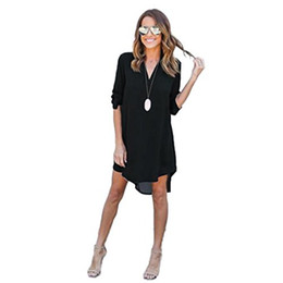 China Luca Women Long Solid Blouse and Tops Mini Dress, Ladies Chiffon 3 4 Long Sleeve Loose Causal T-Shirt Party Dress supplier t shirts ladies mini suppliers