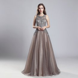 aline prom dresses UK - LX560 Mocha In Stock Classic Aline Tulle Jewel with Zipper Prom Dresses Sexy Evening Gowns Arabic Formal Party Wear