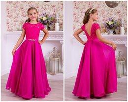 $enCountryForm.capitalKeyWord Australia - Rose Red Lace Chiffon Beads Flower Girl Dress Long Summer Girls Brithday Dress Long Rose Red Chiffon Kids Formal Party Dress