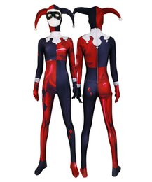 Wholesale girls zentai online – ideas Adult Women Kids Red Jester Girl Harley Quinn Cosplay Jumpsuit Halloween Anime Moive Superhero Costume Zentai Jumpsuit Bodysuit Suit