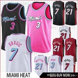 Heat fan online shopping - men Heat jersey Dragic Wade Whiteside basketball Jersey men fans clothes printed top sale
