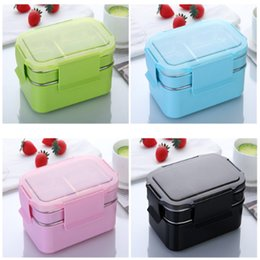cutlery stainless steel box Australia - new double layer insulated lunch box stainless steel anti-scalding food container with cutlery lunch box supplier