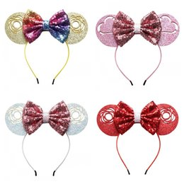 Valentine headbands online shopping - Bow Mermaid Sequin Heart Shaped Hairs Band Child Headband Teenagers Girl Hair Hoop Valentines Day Multi Color New Arrival yj C1
