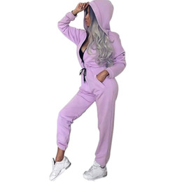 one piece spandex clothes UK - New Women Jumpsuits Running Sets One Piece Fitness Gym Tracksuits Clothing With Hoodie Elastic Sport Jacket Coat Zipper #736455