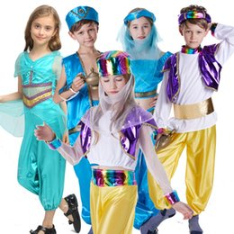 Wholesale girl black star cosplay online – ideas Kids Aladdin Cosplay Set Boy Party Stage Suit Girls Masquerade Arabia Princess Set Kids Designer Clothes Kids Cosplay Apparel