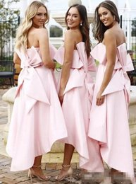 Summer Beach Wedding Bridesmaid Dresses Australia - 2019 Pink High Low Short Bridesmaid Dresses Strapless With Bow Back Wedding Guest Dress A Line Satin Summer Beach Maid Of Honor Gowns