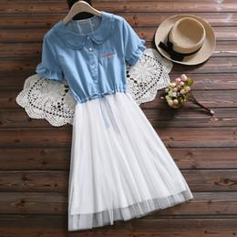 7967a7ba37e Japanese Mori Girl Summer Women Cute Short Dress Peter Pan Collar Denim  Mesh Princess Dress Kawaii Embroidery Sweet Lolita