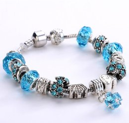 $enCountryForm.capitalKeyWord Australia - 20cm 925 Sterling Silver Murano Lampwork Glass Beads Spacer Loose European Charm Beads Crystal Ball Pendant Fits Pandora Diy Charm bracelets
